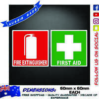 First Aid and Fire Extinguisher Decal Sticker Workplace Health Safety Truck Ute