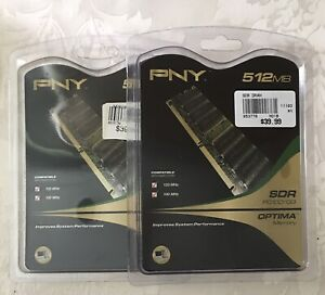 NIP • Lot of 2 Packages • PNY 512MB Memory Card Desktop MD0512SSD SDR PC100/133