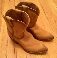 Frye Leather Billy Cowboy Ankle Boots Cognac Tan 71440 Women Size 9 (NEW)