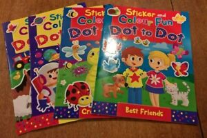 Childrens A4 Sticker and Colour Fun Dot To Dot choice of themes