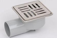 Ginaz Duschablauf Badablauf Bodenablauf mit Edelstahlrost Rahmen 100x100 mm DN50