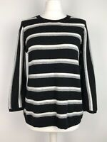 Jigsaw striped Jumper Size M 12 14 with wool & Cashmere Preppy Soft Knit