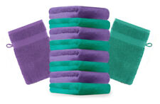 Betz lot de 10 gants de toilette Premium: vert émeraude & violet, 16 x 21 cm
