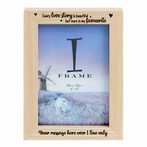 Personalised Valentines ~ Love ~ Light Wooden Photo Frame