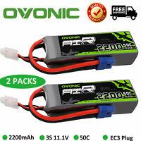 2Pcs OVONIC 2200mAh 11.1V 50C 3S Lipo Battery EC3 Plug RC Car Airplane Drone FPV