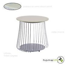 Table basse moderne en métal chromé et verre sécurit cappuccino