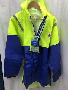 NWT STORMLINE 211 Fisherman's Parka, Double Front, 2XL, Neon Yellow and Blue
