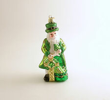 Irish Santa Claus Glass Christmas Ornament