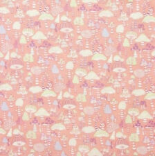 1 Fat Qtr MUSHROOM CITY Dusty Pink Toadstools Fungi Fairy Nursery A Henry Fairy
