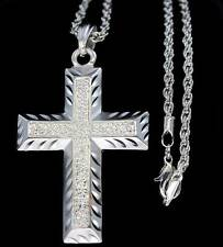 "New Classy Silver Finish 2"" Cross Pendant 24"" Rope Necklace 3mm Combo"