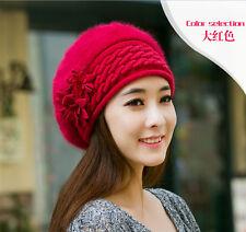 Flower Womens Winter Knit Crochet Slouch Baggy Beanie Hat Crochet Ski Cap Beret