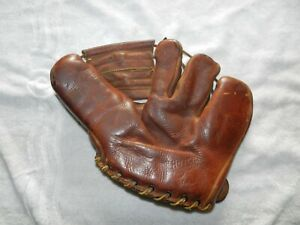 """VINTAGE 1940S THE HUTCH CLUTCH MODEL""""THE MAGNET""""FIELDERS GLOVE 43X HAND TAILORED"""