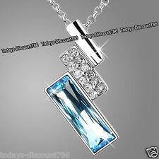 argent et bleu cristal collier chaîne amour Cadeaux de Noël pour elle femme