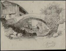 DESSIN CRAYON sur papier.Paysage signé Mérand. 19°. Dsa266