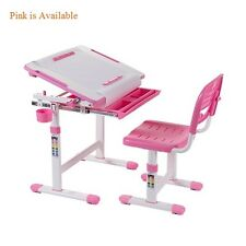 Healthy Ergo Study Desk and Chair Set B203 Pink w/Paper Roll Holder,Adjustable
