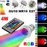 E27 MR16 GU10 4W RGB LED Magic Spot Light Bulb Lamp 16 Colors Dimmable Remote