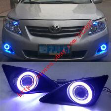 2x LED DRL Daytime Fog Lights Projector+angel eye kit For Toyota Corolla 2007-10