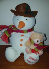 "HALLMARK FOREVER FRIENDS SNOWMAN & TEDDY BEAR PLUSH SOFT STUFFED ANIMAL TOY 10"""