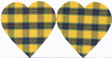 IRON-ON PATCHES - CHECK PATT - YELLOW/BLUE HEART SHAPED - COTTON