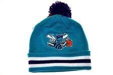 Charlotte Hornets Stripe Cuff Beanie Knit Hat-teal/purple-stripe Cuff Pom