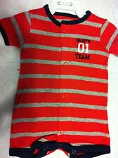 Carter's One-Piece Romper Red & Gray Stripe Navy Trim All-Star SS Newborn NWT