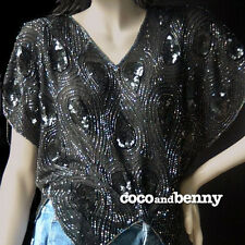 *Vintage 80's BLACK Beaded Sequins SILK TOP Tear Drop Design Pixie Peaks  8/10
