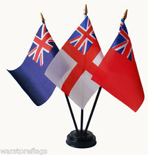 BRITISH NAVAL ENSIGN table flag set with flags & base Navy white red blue royal