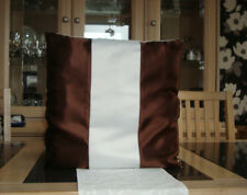 BROWN AND CREAM SATIN CUSHION COVER