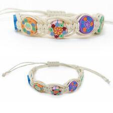 BRACELET femme ou enfant réglable coton ciré BLANC millefiori fimo multicolore