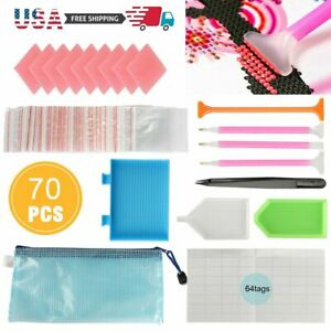 70PCS 5D Diamond Painting Tool Accessories Kit Pen Cross Stitch Embroidery DIY