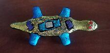 Iridescent Gecko Lizard Dichroic Art Glass Pin/Brooch by Contemporary Glassworks