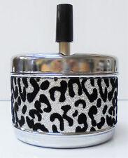 Silver Glitter with Leopard Fur, Metal Spin Ashtray, ASHSMLS