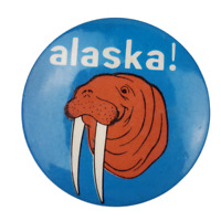 Vintage Walrus Alaska Button Pinback Button
