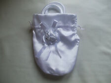Girls Bridesmaid, Holy Communion Satin Bag Flowers, Bow, Stones Detail White New