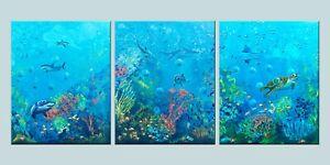 """Huge ORIGINAL set by G.Liedtke - """"Deep Blue Sea"""" Ocean Reef Shark Dolphin Turtle"""