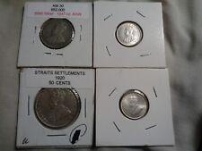straits  settlement lot, 2 au+ 10 cents 1927, 20 cents 1917-b fine-, 50 cents .