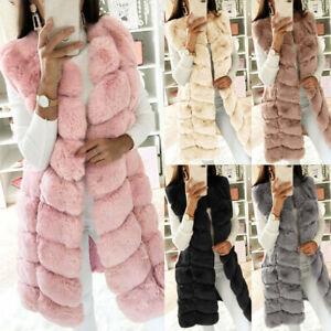 Women Faux Fur Waistcoat Gilet Vest Keep Warm Winter Sleeveless Coat Outwear US