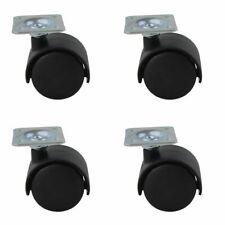 4er Set ø 50mm Möbelrollen aus schwarzem Kunstoff mit Anschraubplatte Lenkrollen