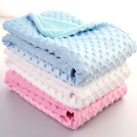 UK Seller Baby Nursery Bedding Blankets Throws Soft Fleece Solid Cotton Outdoor