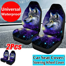 Universal Front Car Seat Covers Cushions Blue Wolf Printed Protectors Rear Bench