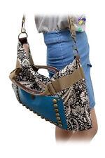 Vintage Frauen Handtaschen Art Nieten Blumendruck Leinwand Schulter Kurier ET