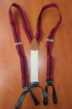 Brooks Brothers Navy/Red Striped Pattern Silk Leather Brace Suspenders ~England~