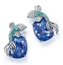 925 Sterling Silver (25mm Height)  Earring Angel Fish Studs Cushion Blue Cz*