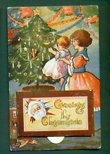 NOVELTY PULL-OUT,CHRISTMAS ACTIVITIES ,vintage postcard