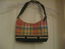 Tommy Hilfiger Pastel Plaid purse handbag shoulder bag Canvas and Demin small