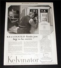 1925 OLD MAGAZINE PRINT AD, KELVINATOR REFRIGERATORS, FOOD JUST BEG TO BE EATEN!