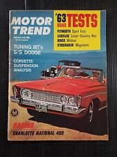 Motor Trend Jan 1963 Plymouth Fury - Cadillac Cross-Country - Ford Mustang