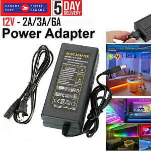 AC DC 12V 3A 2A 6A Power Supply Adapter Charger Transformer for LED Strip Light