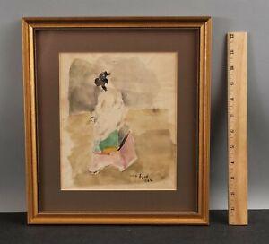 1964 Original GABRIEL SPAT Impressionist Watercolor Painting, Portrait of Woman