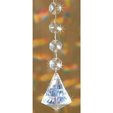 "Crystal Diamond Rainbow Maker Suncatcher With Silvery Ribbon Hanger New 15"" Long"